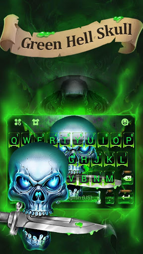 Tema Green Hell Skull Devil Knife Keyboard