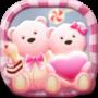 icon Cute Bear Pink hearts Theme